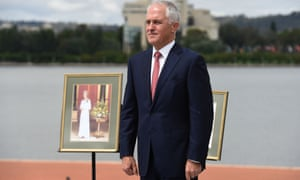 The pro-republic prime minister, Malcolm Turnbull, beside a portrait of the Queen at an Australia Day citizenship ceremony in Canberra on Tuesday.
