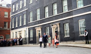 The Camerons leave Downing Street.