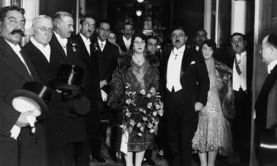 King Amanullah of Afghanistan (1892 - 1960), with Queen Souriya visiting Manchester, 29 March 1928.