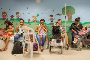 Children with microcephaly and their parents at Recife's Altino Ventura Foundation