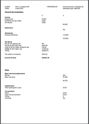 Andrea Leadsom's tax return for 2015