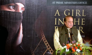 Pakistan's prime minister, Nawaz Sharif, makes a speech condemning 'honour' killings at an Islamabad screening of A Girl in the River: the Price of Forgiveness.