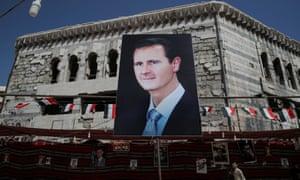 Banner of Syrian president Bashar al-Assad in Douma, outside Damascus, Syria, 17 September 2018
