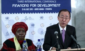 UN secretary general Ban Ki-moon alongside Nkosazana Dlamini-Zuma, the African Union chair, at the development finance summit in Addis Ababa.