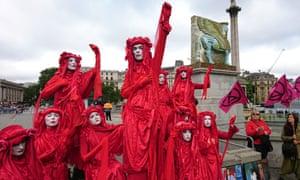 Extinction Rebellion activists in Trafalgar Square