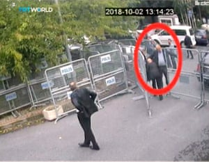 A still from CCTV footage obtained by TRT World showing Khashoggi at a police checkpoint.
