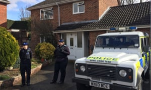Police community support officers outside the Salisbury home of Sergei Skripal