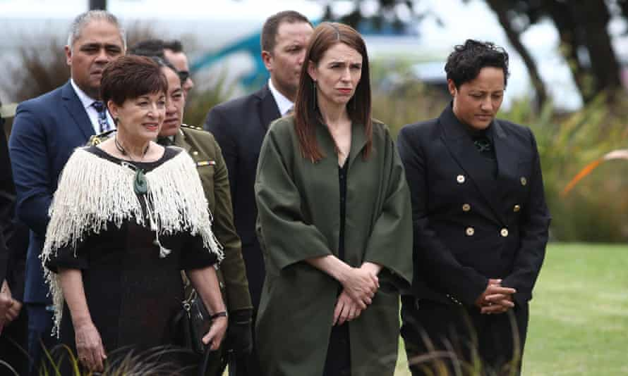 New Zealand prime minister Jacinda Ardern (C) and governor general Dame Patsy Reddy (L) arrive at the Te Mānuka Tūtahi Marae for a powhiri on December 09, 2020 in Whakatāne, one year on from the Whakaari White Island volcano eruption.