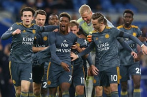 Leicester's Demarai Gray celebrates scoring the opening goal with team-mates showing his t-shirt in memory of their chairman Vichai Srivaddhanaprabha.