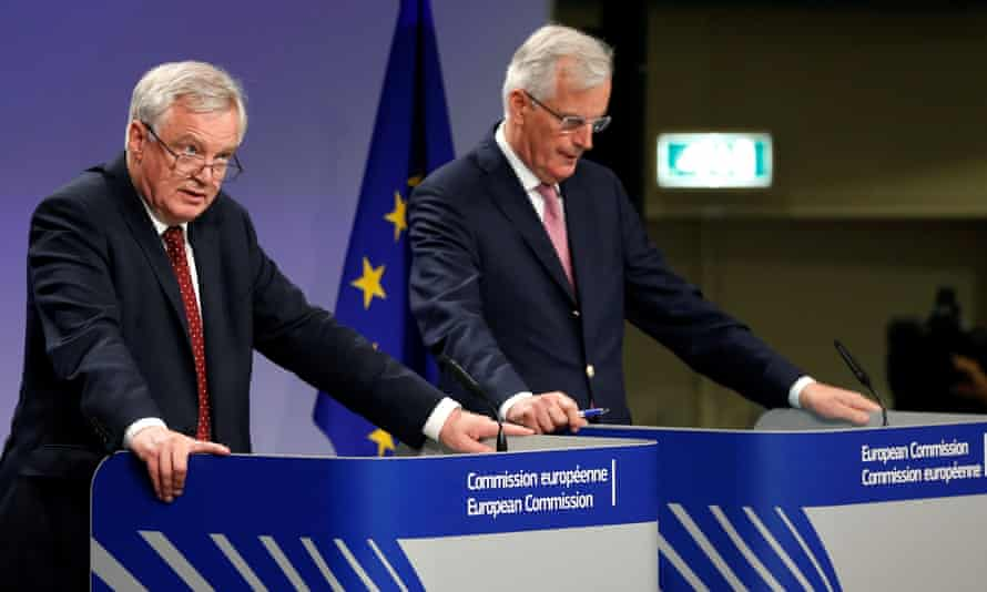 David Davis, the Brexit secretary, left, met up with Michel Barnier, who leads the EU negotiating team, in Brussels for a second round of talks.