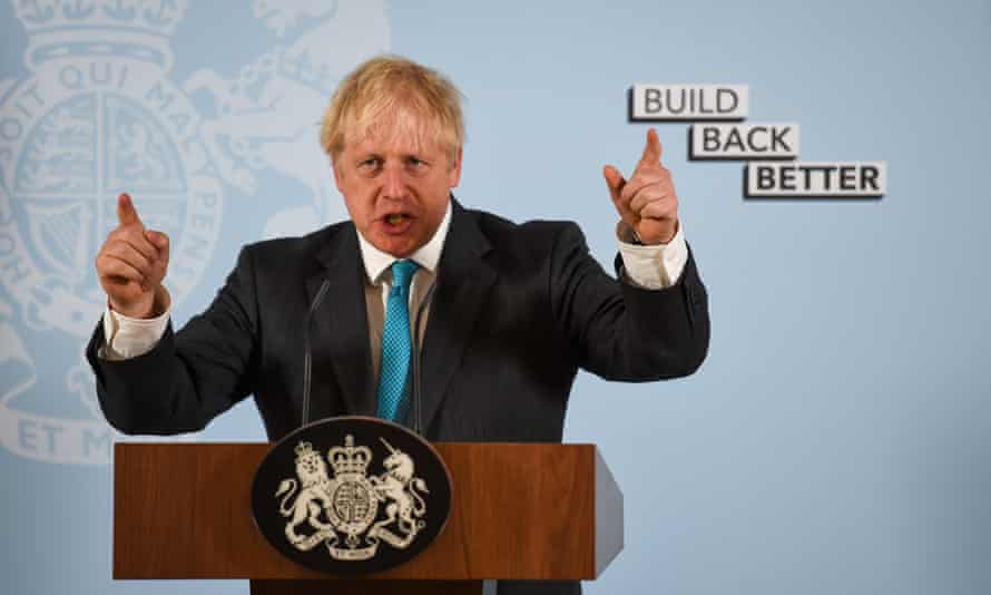 Prime Minister Boris Johnson delivers a speech during a visit to Exeter College Construction Centre, Exeter
