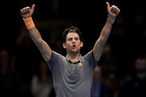 Dominic Thiem celebrates after beating Novak Djokovic.