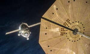 The Russian Soyuz space station docking to the International Space Station's Rassvet module.