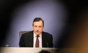 Mario Draghi speaks at the European Central Bank's press conference in Frankfurt.