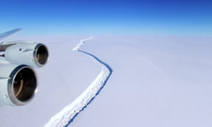 Nasa handout photo dated 10/11/16 showing a rift in the Larsen C Ice Shelf in Antarctica, as scientists have said that an iceberg a quarter the size of Wales is poised to break off from it.
