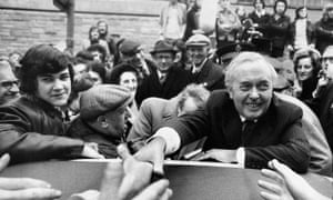 Harold Wilson, the Labour leader, campaigning in Huddersfield in February 1974.