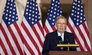 Senate majority leader Mitch McConnell speaks