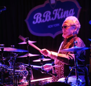 Ginger Baker Performs Jazz Confusion Featuring Pee Wee Ellis, Alec Dankworth & Abass DodooNEW YORK, NY - JUNE 18: Ginger Baker Performs Jazz Confusion Featuring Pee Wee Ellis, Alec Dankworth & Abass Dodoo at BB King on June 18, 2015 in New York, New York. (Photo by Bobby Bank/WireImage)