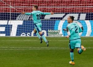 Levante's Jorge de Frutos celebrates scoring their second goal