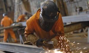 Welding work being undertaken at a shipyard in Lowestoft, Suffolk.