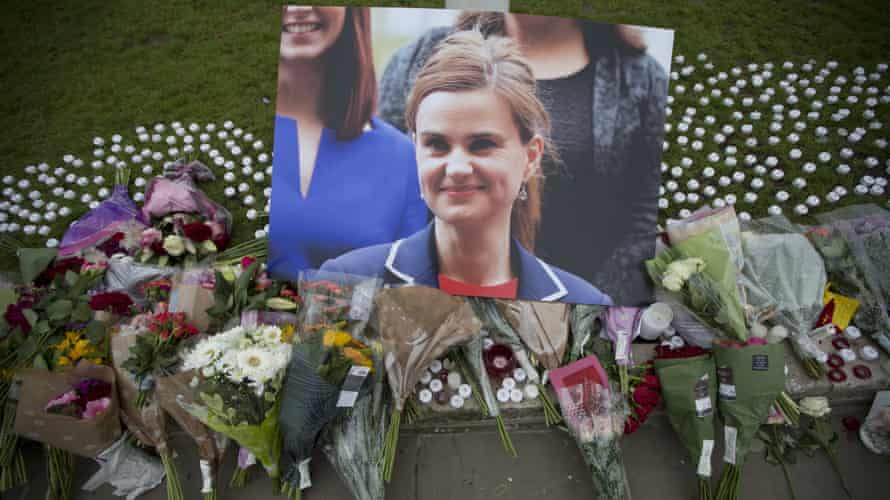 Tributes to Jo Cox in Parliament Square after she was murdered in June.
