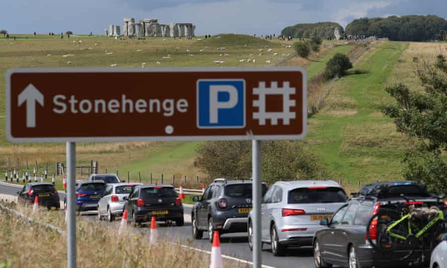 Traffic builds up on the A303 near Stonehenge in Wiltshire on the Friday of the August bank holiday weekend this year.