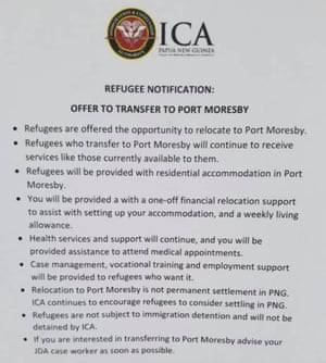 A notice handed out to refugees on Manus.
