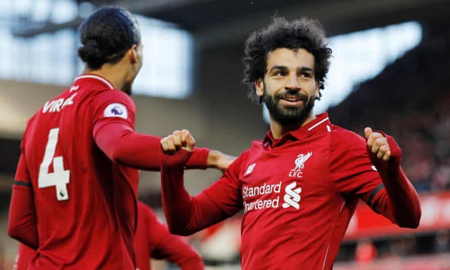 Mohamed Salah celebrates scoring Liverpool's third goal against Bournemouth.
