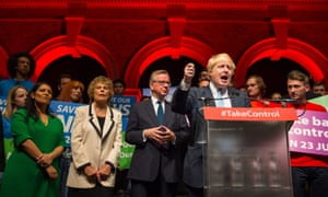 Boris Johnson speaks alongside (from left) Priti Patel, Kate Hoey and Michael Gove at a Vote Leave campaign event at Old Billingsgate market, London, on 19 June.