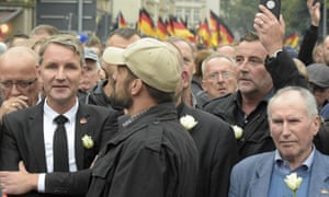 Björn Höcke (left), the AfD leader in Thuringia, and the Pegida founder, Lutz Bachmann (second right), at a rally in Chemnitz