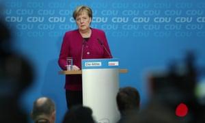 Angela Merkel speaks at a press conference