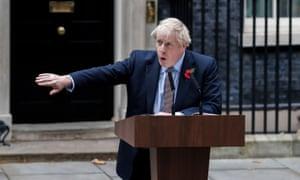 Boris Johnson making a statement outside 10 Downing Street in London