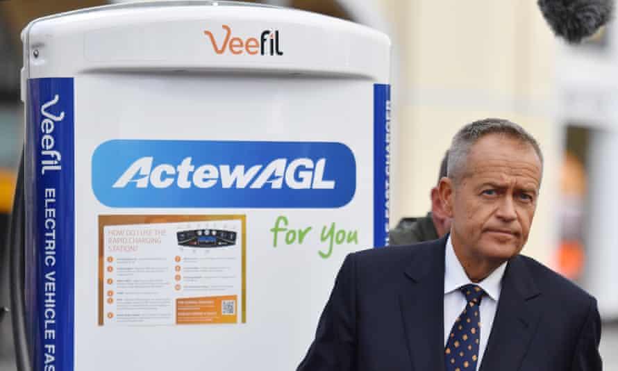 Bill Shorten at an electric car charging station