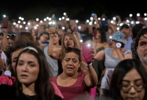 A prayer vigil in El Paso, Texas, after a shooting at a Walmart in the border town left 22 people dead, on 4 August 2019.