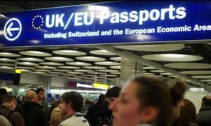 Border control at London's Heathrow airport