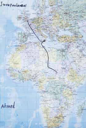 Ahmed Beshir's route map from Sudan to Italy.