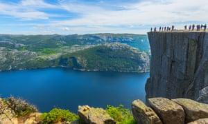 Preikestolen (Pulpit Rock), a 604-metre cliff above Lysefjorden.