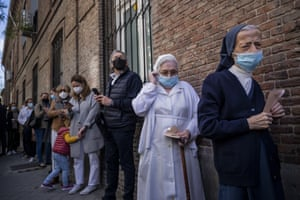 Madrid, SpainPeople queue to cast their votes during the regional election. Over 5 million Madrid residents are voting for a new regional assembly in an election that tests the depths of resistance to lockdown measures and the divide between left and right-wing parties