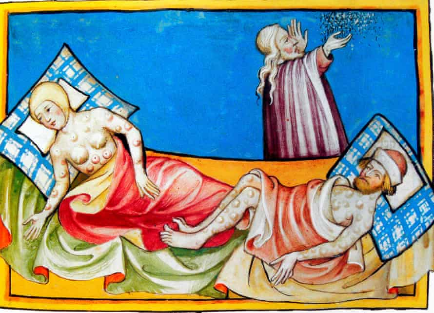Illustration of the Black Death from the Toggenburg Bible (Switzerland, 1411).