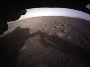The first high-resolution, colour image to be sent back by the Hazard Cameras on the underside of Perseverance rover after landing