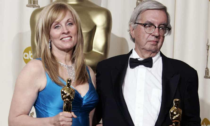 Larry McMurtry and his co-writer Diana Ossana in 2006 after receiving their best adapted screenplay Oscars for Brokeback Mountain.