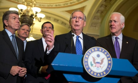 Mitch McConnell (centre), Roy Blunt (left) and John Cornyn (right), pictured alongside John Hoeven and John Barrasso, have all expressed scepticism about climate change.