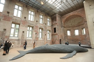 Berlin, Germany. Cast Whale Project by Gil Shachar, a cast of a beached humpback whale found in Lambert's Bay in South Africa in 2018, is exhibited at St Elisabeth Church