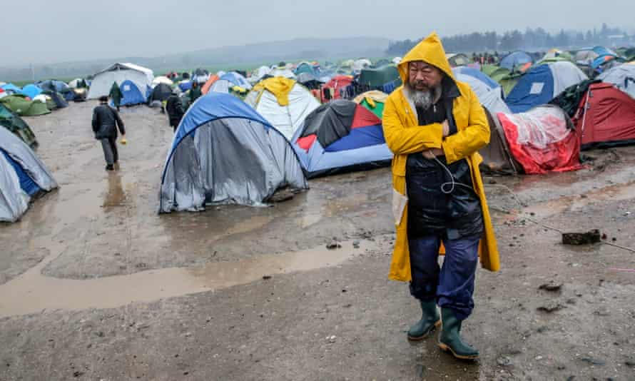Ai Weiwei at a refugee camp at the border between Greece and Macedonia.