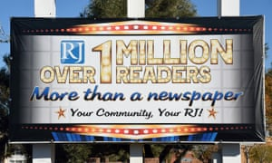 A sign marks the entrance to the Adelson-owned Las Vegas Review-Journal newspaper in Las Vegas, Nevada.