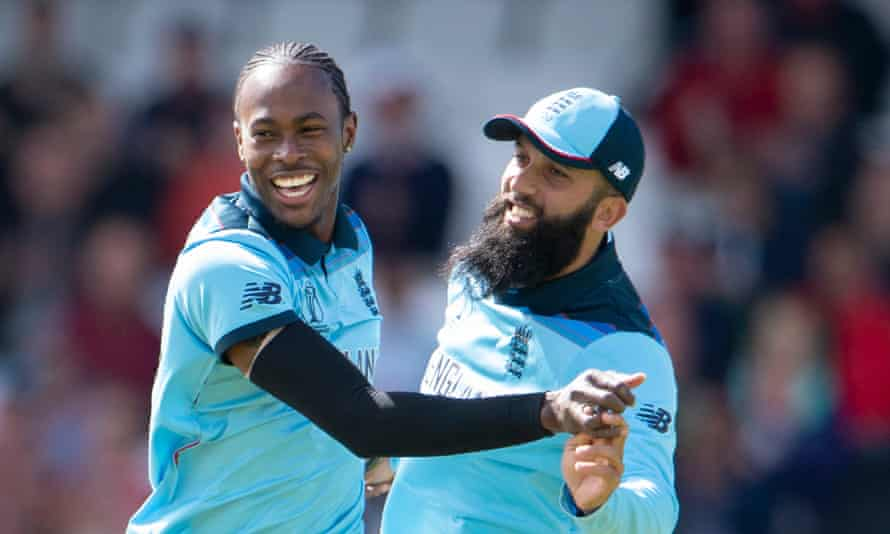 Jofra Archer (left) celebrates with Moeen Ali during England's victorious 2019 World Cup campaign