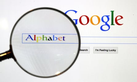 a google search page seen through a magnifying glass