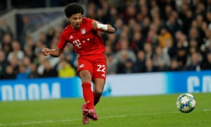 Bayern Munich's Serge Gnabry slotting the ball home for his third goal.