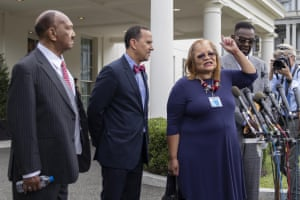 Dean Nelson (second left) with Alveda King in July this year.