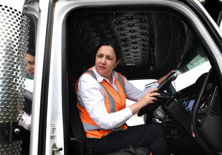 Queensland premier Annastacia Palaszczuk sits in a truck after holding a press conference on the Gold Coast on Tuesday.